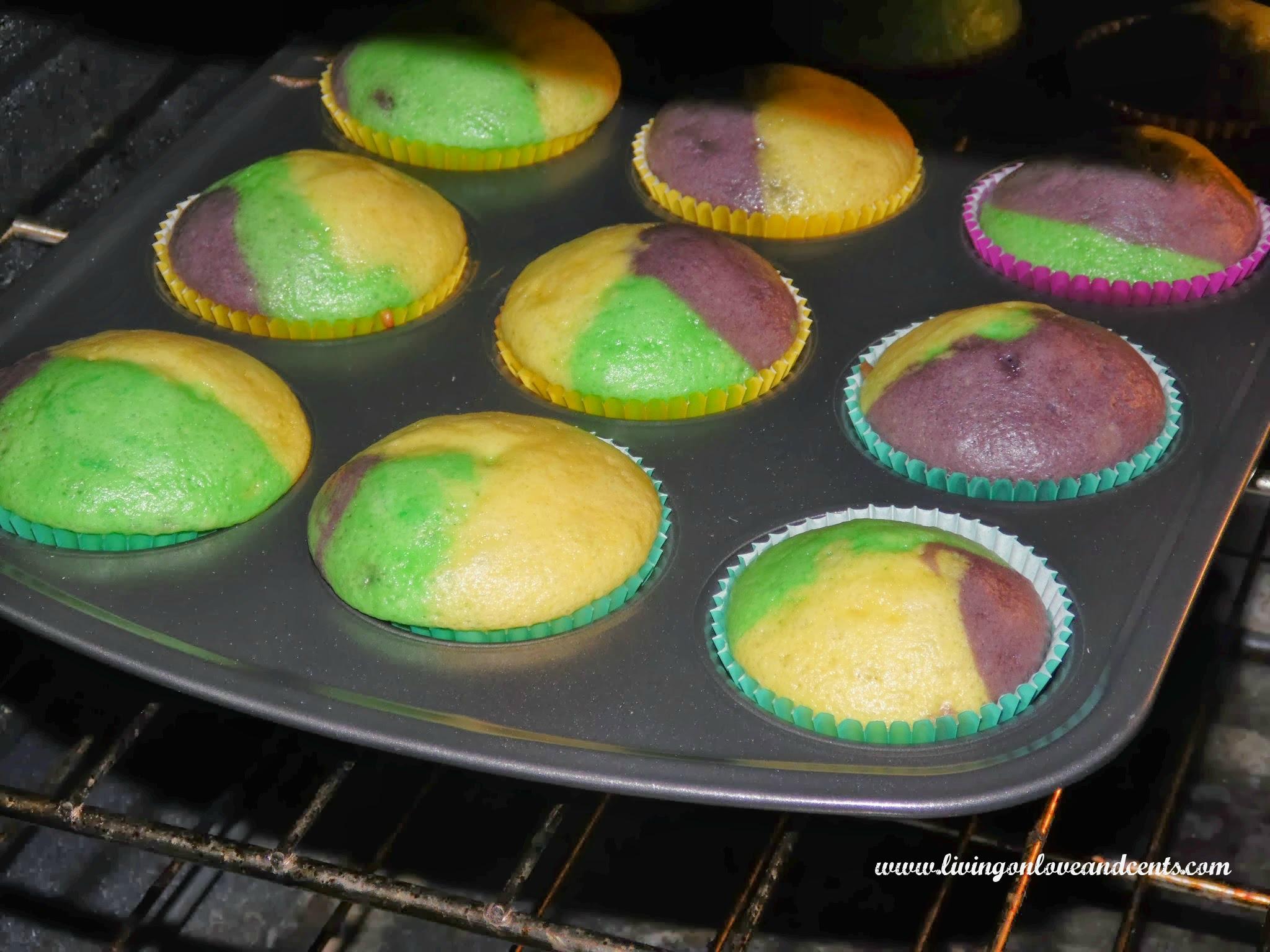baking mardi gras cupcakes