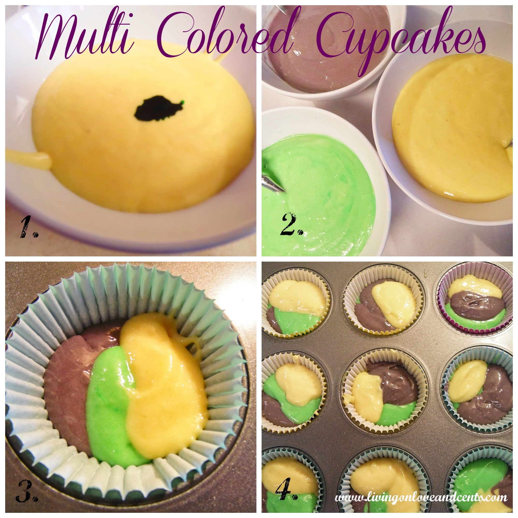 how to make multicolored cupcakes