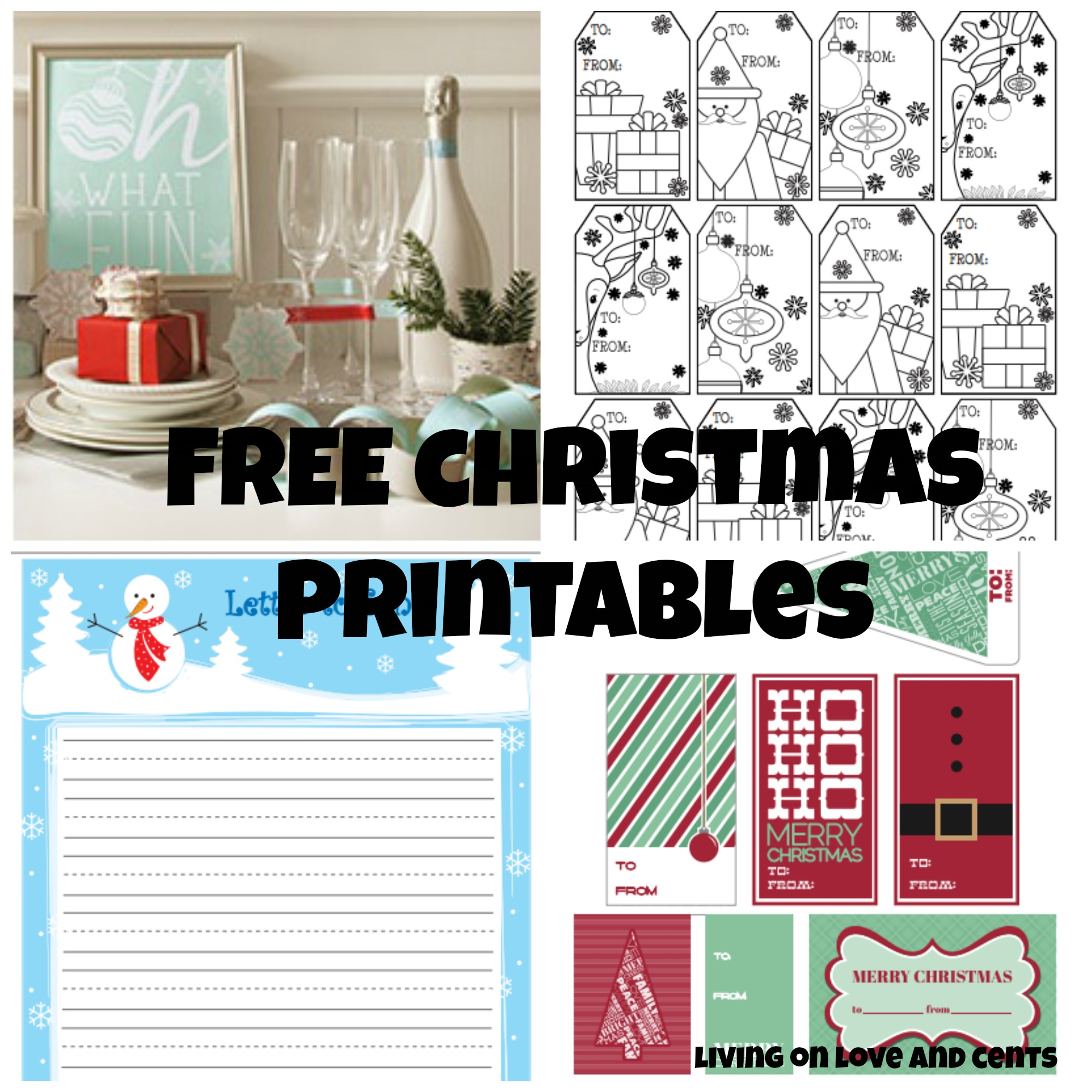 Free Christmas Printables Gift Tags Party Decor And Letter To Santa