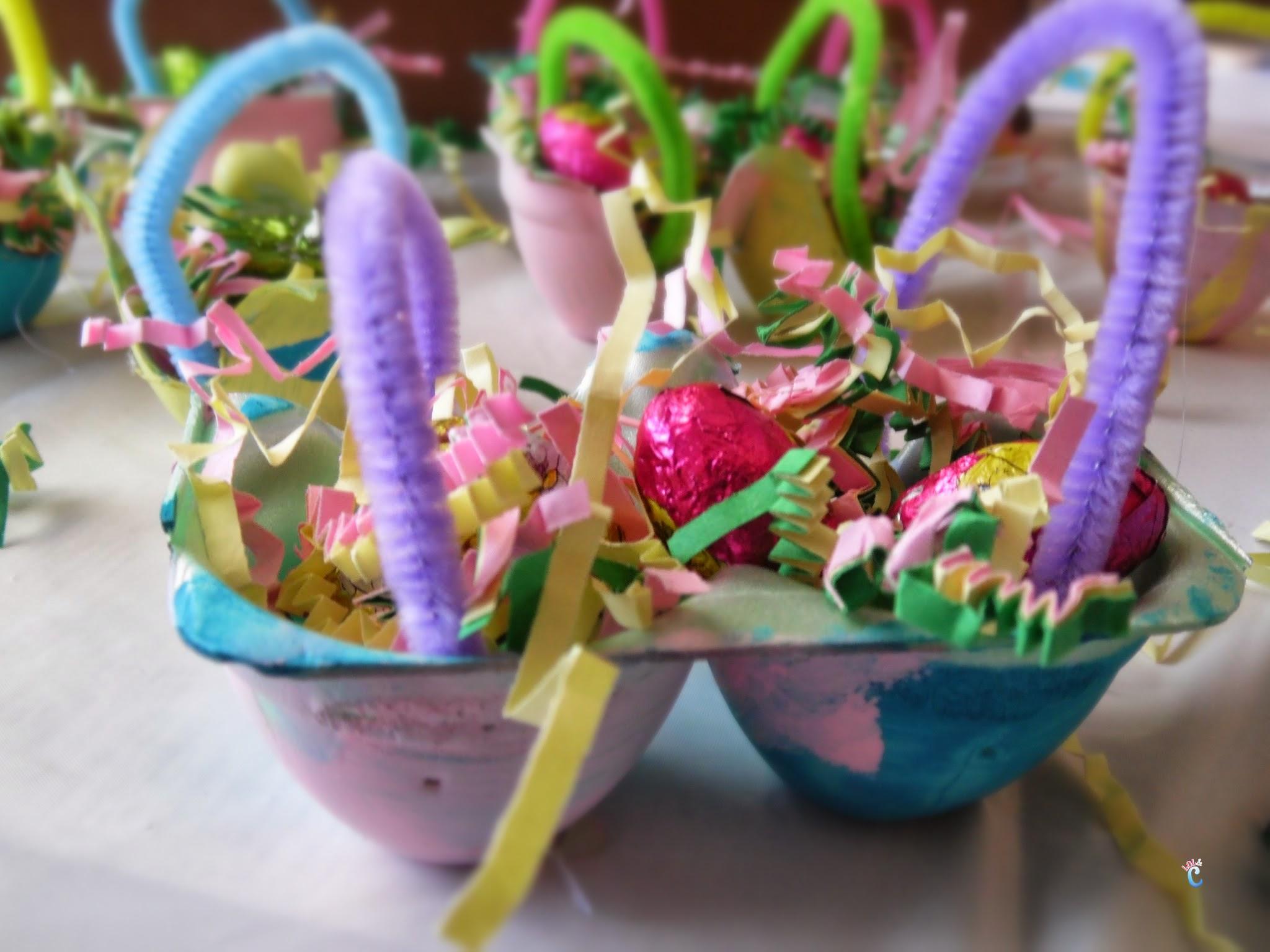 Easy Easter Craft For Kids- Make Egg Carton Easter Baskets